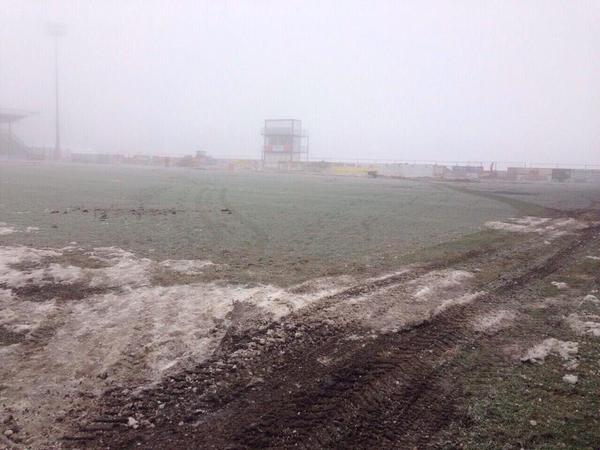 Grödig pitch conditions before game against Sturm Graz. (picture courtesy of: Daniel Offenbacher/Sky Sports Austria)