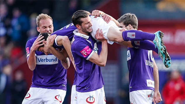 Holzhauser (left), Gorgon (centre) and Zulechner (right) celebrate with Fabian Koch after his first Bundesliga goal versus Altach. (Picture courtesy of Austria Vienna (c))