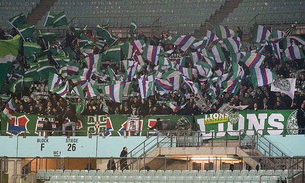 Rapid Vienna fans in their home game against Rheindorf Altach (picture courtesy of GEPA pictures/ M. Hörmandinger).