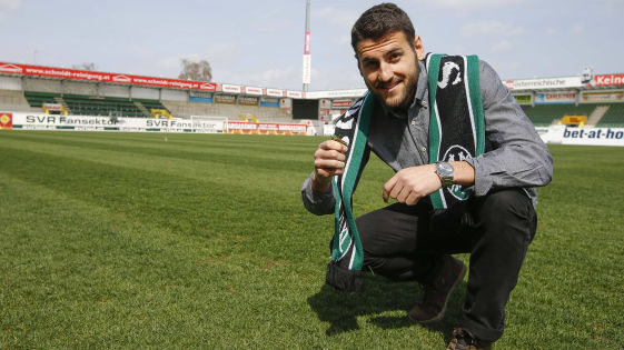 Manuel Gavilan poses at Ried's No Worries Arena ahead of his transfer move in Summer (picture courtesy of Scharinger)