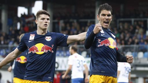 Jonathan Soriano celebrates his 29th league goal in only his 28th appearance of the season alongside Marcel Sabitzer (left) (picture courtesy of Laola1.at)