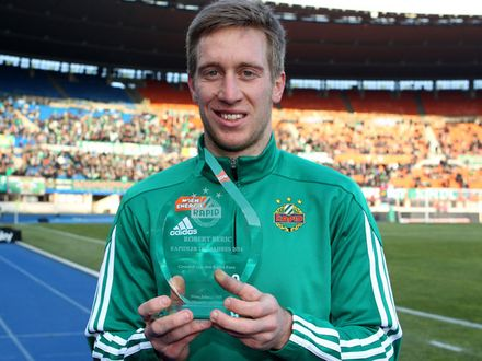 "Robert Berić after winning ""Rapidler of the year"" with 35% of the vote back in February (picture courtesy of skrapid.at)"