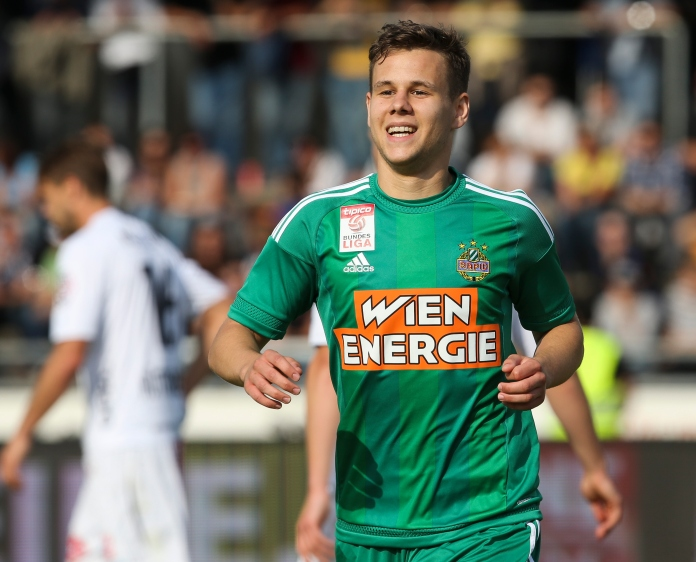 Louis Schaub was back to his best for Rapid Wien against Wolfsberg as he helped set up a 5:0 away win for his side (picture courtesy of Sky Sport Austria)